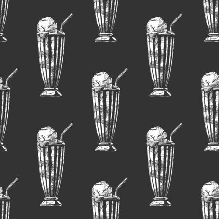 Seamless pattern with milkshake in vintage engraved style. On black background.