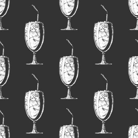 Seamless pattern with milkshake in vintage engraved style. On black background.