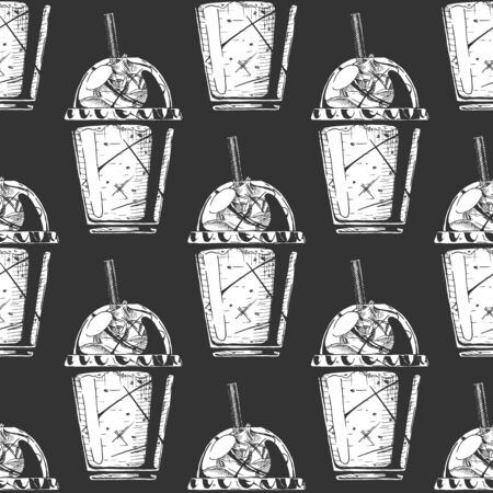 Seamless pattern with milkshake in a plastic cup. Illustration in vintage engraved style. On black background.