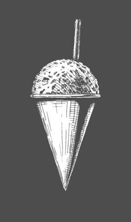 Illustrazione disegnata a mano di vettore dei coni di neve in stile vintage inciso. Isolato su sfondo nero.