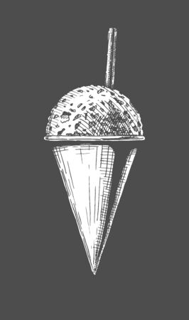 Vector hand drawn illustration of Snow Cones in vintage engraved style. Isolated on black background.