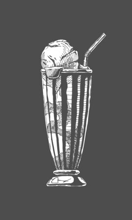 Vector hand drawn illustration of coffee served with ice cream in vintage engraved style. Illustration