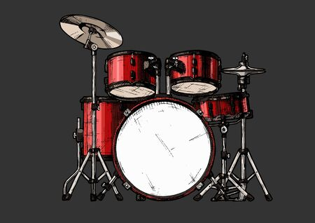 Vector hand drawn illustration of drum kit. isolated on white Ilustração