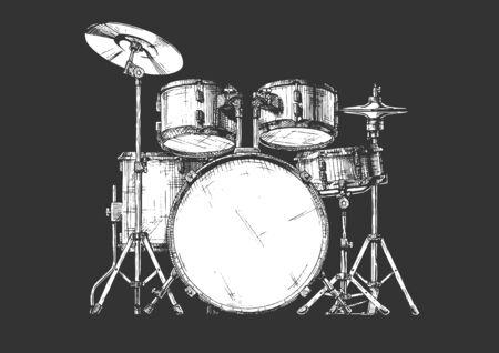 Gezeichnete Illustration des Vektors Hand des Schlagzeugs. isoliert auf weiß