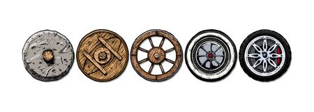 Vector hand drawn illustration of the wheel evolution set. Set in ink hand drawn style. stone, antique wooden, spoked, steel, modern alloy wheels