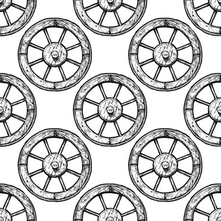 Seamless black-and-white pattern with Antique wooden spoked wheel, ink hand drawn illustration. Vector Illustratie