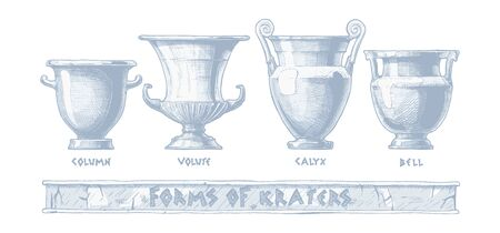 Vector hand drawn sketch of ancient greek vases set in ink hand drawn style. Forms of craters: column, volute, calyx and bell. Typology of Greek wine vessel shapes. Illustration