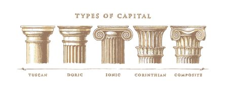 Vector hand drawn illustration set of the five architectural orders engraved. Showing the Tuscan, Doric, Ionic, Corinthian and Composite orders. Vectores