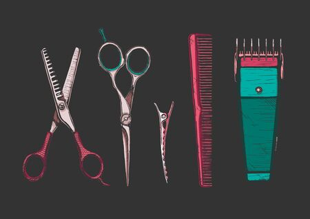 Vector hand drawn set of hairdressers professional tools. Thinning shears, hair-cutting shears, barrette alligator clips, comb, electric hair clipper 矢量图像