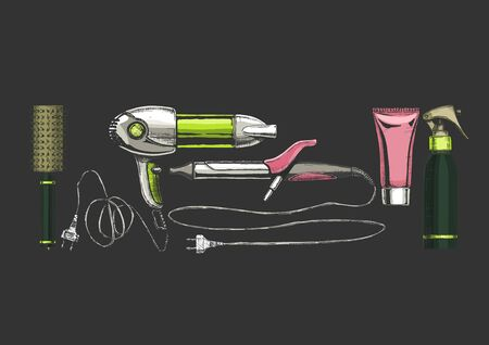 Vector hand drawn set of hairdressers professional tools. Round hairbrush, hair dryer, hair tong, hair gel, hair spray.