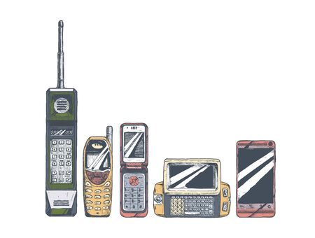 Conjunto de evolución del teléfono móvil. Ilustración de vector en tinta estilo dibujado a mano. Factor de forma del teléfono móvil: teléfono de ladrillo, teléfono de barra, teléfono plegable, teléfono con control deslizante ancho, teléfono inteligente con pantalla táctil.