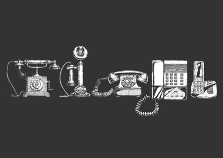 Ilustración de vector de la evolución del teléfono. Establecer en tinta estilo dibujado a mano. Típico teléfono de finales del siglo XVIII, teléfono de candelabro, teléfono de discado giratorio de los años 40, teléfono pulsador con contestador automático de los años 80, moderno teléfono inalámbrico. Ilustración de vector