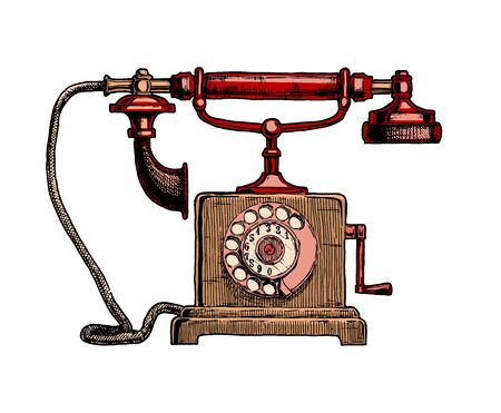 Vector hand drawn illustration of retro telephone in vintage engraved style. isolated on white background