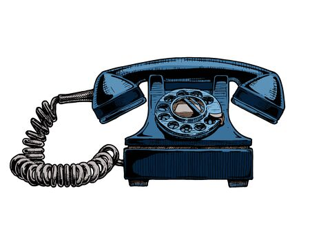 Vector hand drawn illustration of retro phone in vintage engraved style. rotary dial telephone isolated on white background.