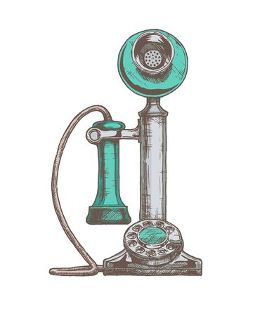 Vector hand drawn illustration of retro candlestick telephone in vintage engraved style. isolated on white background.  イラスト・ベクター素材