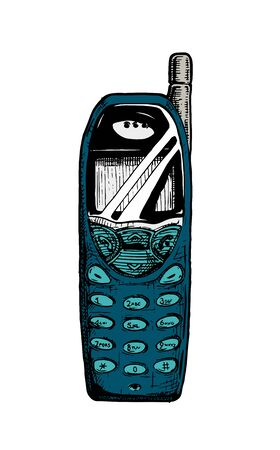 Vector hand drawn illustration of bar phone in vintage engraved style. isolated on white background.