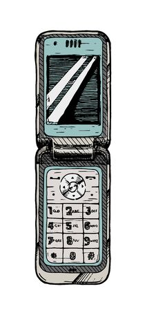 Vector hand drawn illustration of flip phone in vintage engraved style. isolated on white background.
