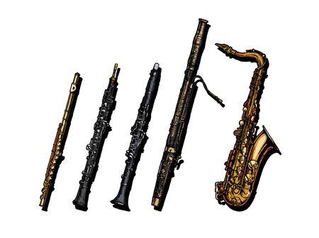 Vektor handgezeichnete Reihe von Holzblasinstrumenten. Flöte, Oboe, Klarinette, Fagott und Saxophon.