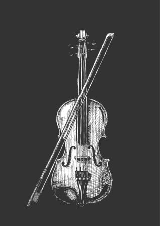 Vector hand drawn illustration of classical acoustic violin with bow in vintage engraved style. isolated on black background. Ilustracja