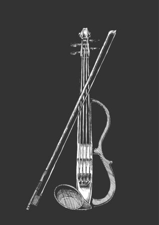 Vector hand drawn illustration of electric violin with bow in vintage engraved style. isolated on black background. Ilustracja