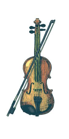 Vector hand drawn illustration of classical acoustic violin with bow in vintage engraved style. isolated on white background. Ilustracja