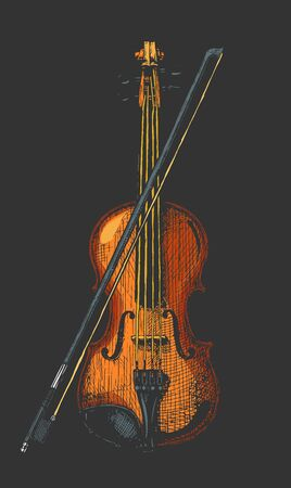Vector hand drawn illustration of classical acoustic violin with bow in vintage engraved style. isolated on black background. Ilustrace
