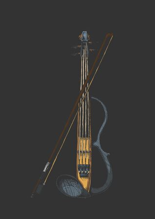 Vector hand drawn illustration of electric violin with bow in vintage engraved style. isolated on black background. Ilustrace