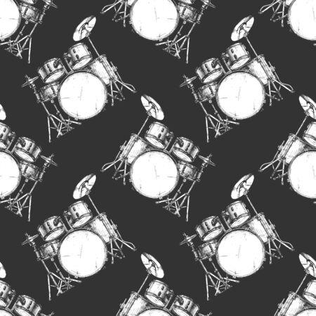 Seamless black-and-white pattern with drum kit, ink hand drawn illustration. Çizim
