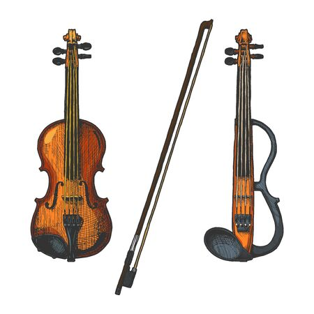 Bowed string instruments. Vector hand drawn illustration of violin and fiddle-bow. Ilustracja