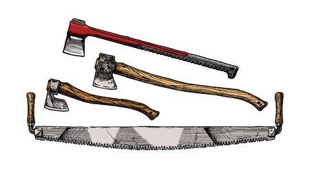 Ilustración de dibujado a mano de vector de sierra transversal, mazo de división y hacha de tala. Herramienta de leñador. Ilustración de vector