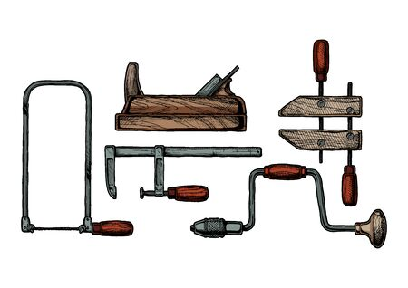 Vector hand drawn illustration of woodworking tool. Fretsaw, plane, bar clamp, handscrew and hand drill