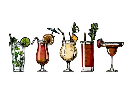 ink drawing illustration set of alcohol cocktails.
