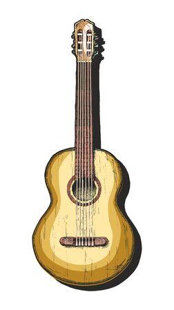 Illustrazione disegnata a mano di vettore della chitarra acustica. chitarra classica. Vettoriali