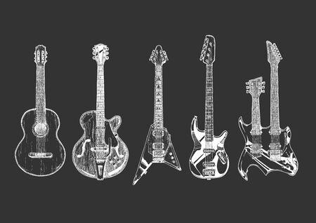Vektor handgezeichnete Reihe von Gitarren. Akustikgitarre (klassische Gitarre), halbakustische Gitarre (Archtop-Gitarre), E-Gitarre, Bassgitarre und Doppelhalsgitarre. Vektorgrafik