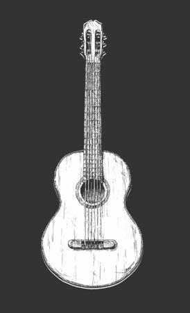 Illustrazione disegnata a mano di vettore della chitarra acustica. chitarra classica.