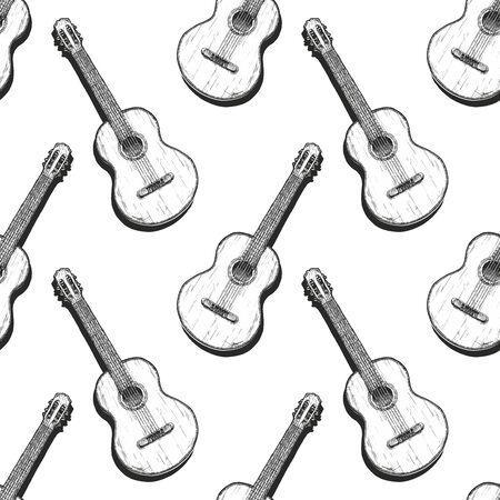 Seamless black and white pattern with guitar, ink hand drawn illustration. Illustration