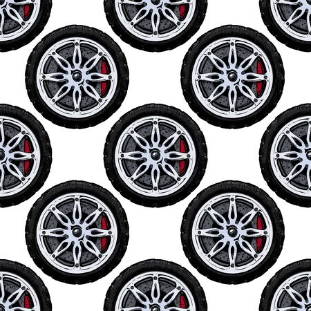 Seamless pattern with modern alloy wheel, ink hand drawn color illustration.