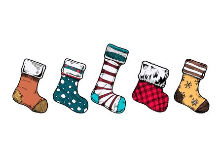 Vector illustration of an assortment of five Christmas stockings in ink hand drawn style on white background.