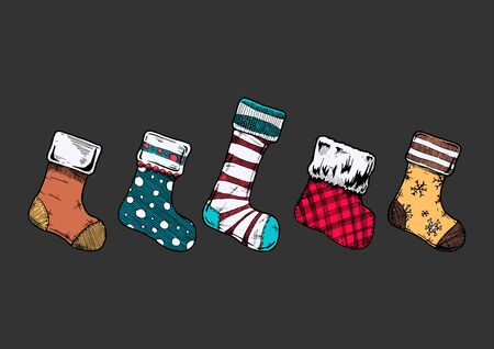 Vector illustration of an assortment of five Christmas stockings in ink hand drawn style on black background.