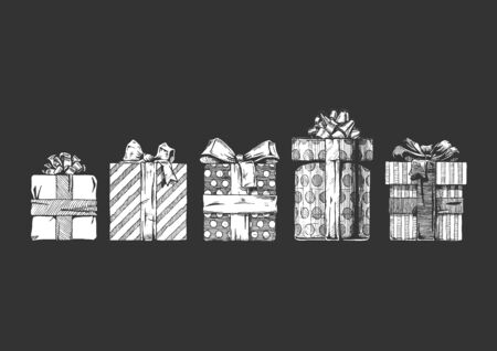 set of different gift boxes. Vector illustration in ink hand drawn style on black background.  일러스트
