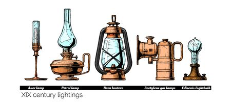 Vector hand drawn illustration of XIX century lightings evolution. Auer lamp with gas mantle, Barn lantern, kerosene and carbide lamps, Edison Light bulb. Isolated on white background.   Ilustração