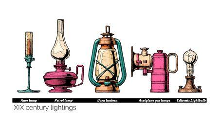 Illustrazione disegnata a mano di vettore dell'evoluzione delle luci del XIX secolo. Lampada di Auer con mantello a gas, Lanterna Barn, lampade a cherosene e carburo, Lampadina Edison. Isolato su sfondo bianco.