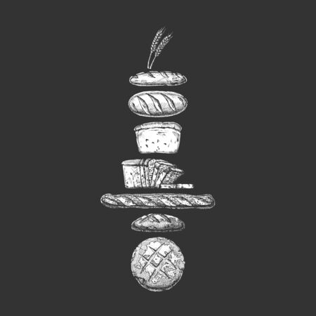 Vector hand drawn illustration of different breads: wheat germ, long loaf, pan loaf (sliced), baguette and boule. Isolated on black background