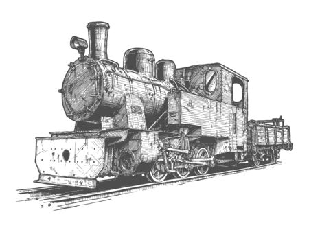 Vector hand drawn illustration of retro steam locomotive and tender in vintage engraved style. Isolated on white background.