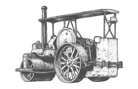 Ilustración de dibujado a mano de vector de rodillo de camino a vapor retro en estilo vintage grabado. Aislado sobre fondo blanco. Vista trasera.