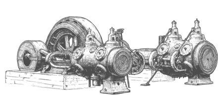 Ilustración de dibujado a mano de vector de motor de vapor estacionario en estilo vintage grabado. Aislado sobre fondo blanco.