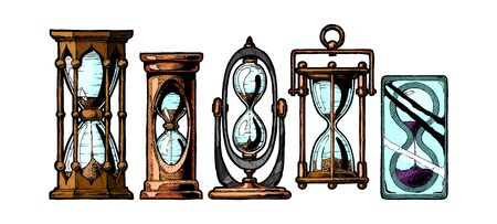 Set of different hourglass in old fashioned etched style. Vector illustration isolated on white.