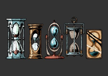 Set of different hourglass in old fashioned etched style. Vector illustration Isolated on black background.