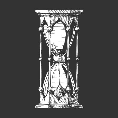 Hand drawn Illustration of hourglass in vintage engraved style. isolated black background. Çizim