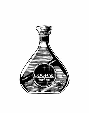 Vector hand drawn illustration of Cognac bottle. Isolated on white background